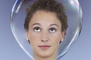 Kopf in einer Seifenblase