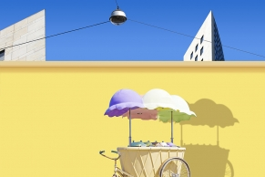 Eiswagen vor einer gelben Mauer–Mini
